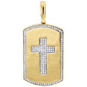 Jewelry For Less 10K Yellow Gold Genuine Diamond Cross Dog Tag Charm Pendant 0.35 Ct.