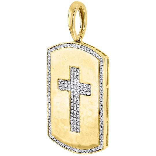 Jewelry For Less 10K Yellow Gold Genuine Diamond Cross Dog Tag Charm Pendant 0.35 Ct. Image 1