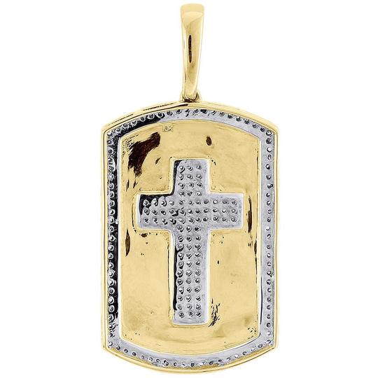 Jewelry For Less 10K Yellow Gold Genuine Diamond Cross Dog Tag Charm Pendant 0.35 Ct. Image 2