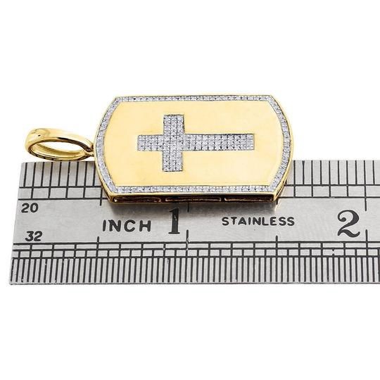 Jewelry For Less 10K Yellow Gold Genuine Diamond Cross Dog Tag Charm Pendant 0.35 Ct. Image 3