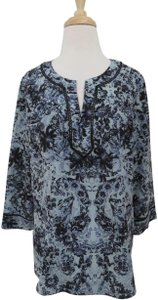 Rebecca Taylor Silk Floral 3/4 Sleeves Tunic