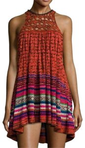 Free People short dress Red Knit Chunky Bohemian Halter Tunic on Tradesy