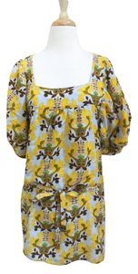 T-Bags Los Angeles short dress yellow Floral Shift Short Sleeve Silk Cotton on Tradesy
