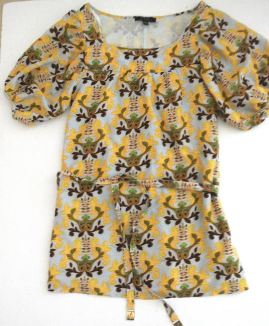 T-Bags Los Angeles short dress yellow Floral Shift Short Sleeve Silk Cotton on Tradesy Image 1