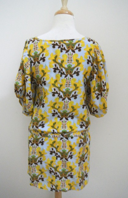T-Bags Los Angeles short dress yellow Floral Shift Short Sleeve Silk Cotton on Tradesy Image 2