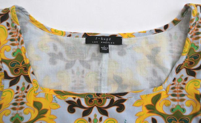 T-Bags Los Angeles short dress yellow Floral Shift Short Sleeve Silk Cotton on Tradesy Image 3