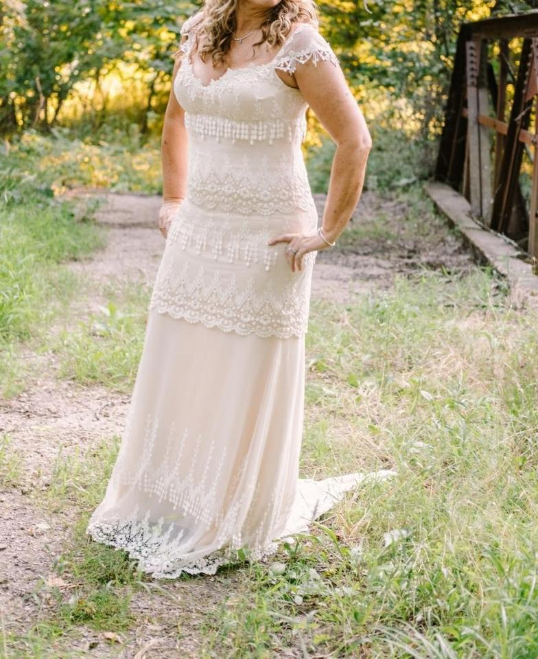 Claire Pettibone Ivory Over Champagne Victorian Lace Overlay with ...