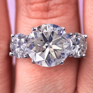 7.31cts Three Stone Million Look Engagement Ring