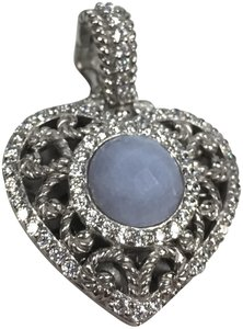 Judith Ripka CZ and periwinkle stone heart
