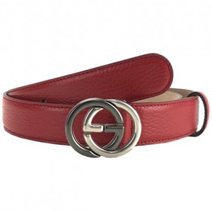 9c534232db0 Gucci GUCCI 295704 Unisex Interlocking G Red Leather Belt 100-40