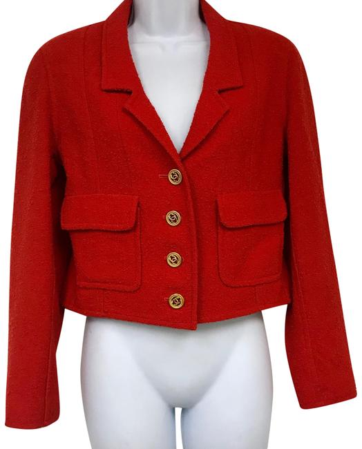 Item - Red Wool Cropped Jacket 38 Blazer Size 4 (S)