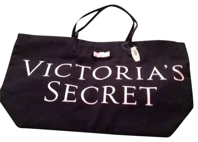 Item - Black with Pale Pink Lettering Cotton Tote