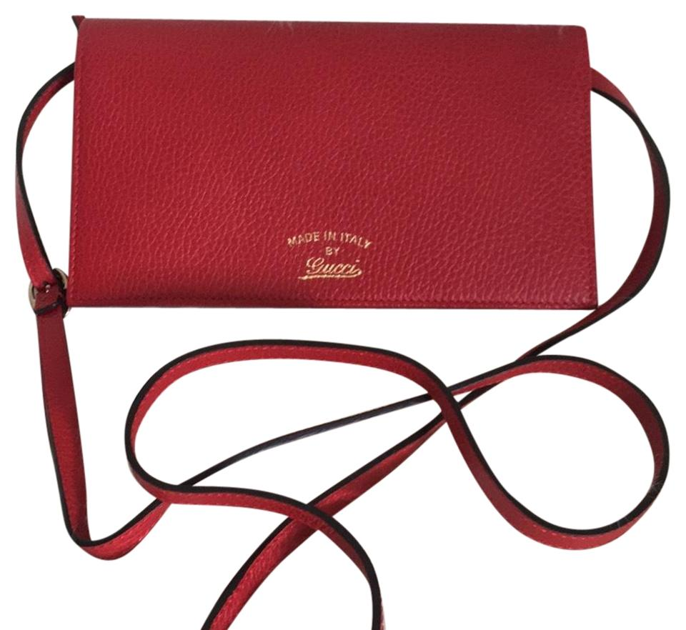 aaee8873a4ef5 Gucci Swing Leather Wallet On Chain Red Cross Body Bag - Tradesy