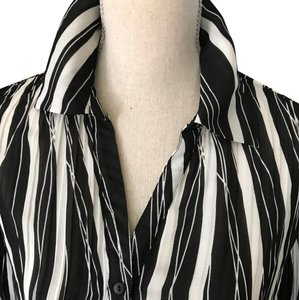 Allison Taylor Easy Elegance Button Down Shirt Black White striped