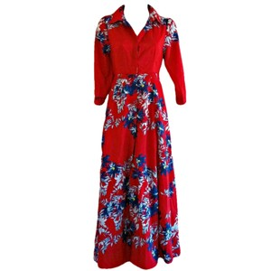 Red Maxi Dress by Unbranded Maxi Floral Flowers Shirt Shirtdress