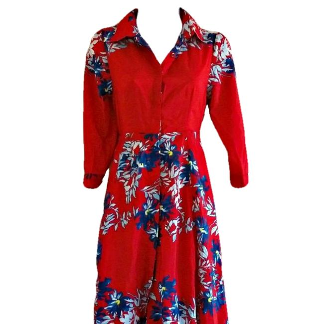Red Maxi Dress by Unbranded Maxi Floral Flowers Shirt Shirtdress Image 1