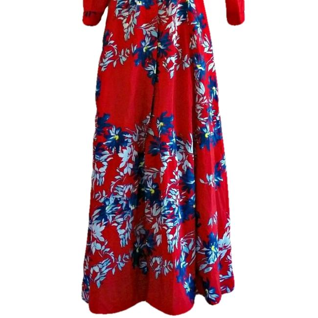 Red Maxi Dress by Unbranded Maxi Floral Flowers Shirt Shirtdress Image 2