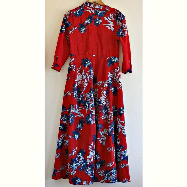 Red Maxi Dress by Unbranded Maxi Floral Flowers Shirt Shirtdress Image 3