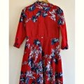 Red Maxi Dress by Unbranded Maxi Floral Flowers Shirt Shirtdress Image 4
