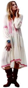 Ivory Maxi Dress by Free People Longsleeve Embroidered Hi Lo Contrast