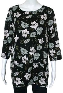 French Connection Crew Loose Breathable Polyester Top Black multi floral