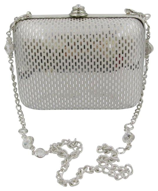 Item - Evening Bag Crystal Chain Silver Satin Clutch