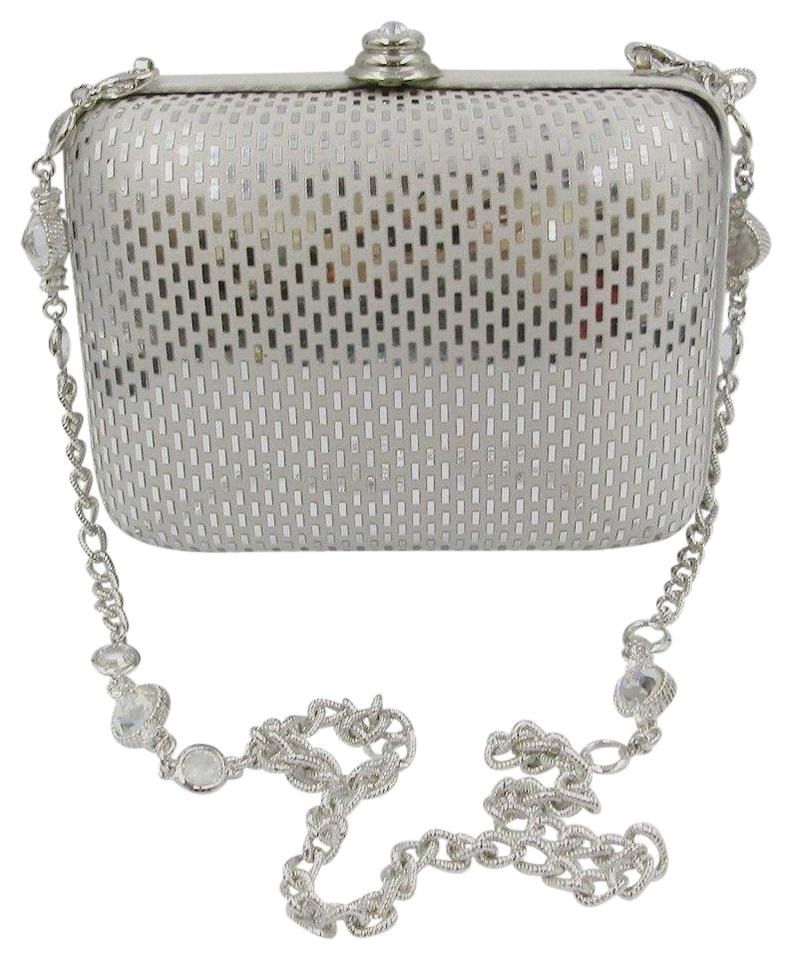 692b3fadbcb3 St. John Evening Crystal Chain Silver Satin Clutch - Tradesy