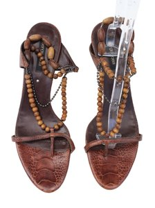 Sergio Rossi Boho Kitten Heel Sandal Beach Brown Pumps