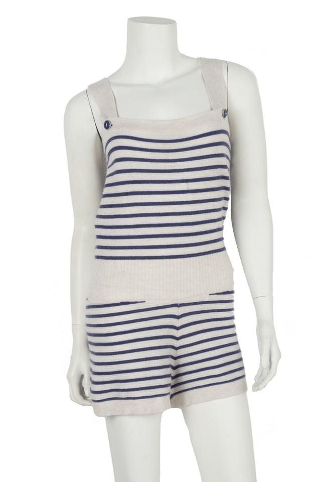 c790c8a75e7 Chanel White   Blue Strip Cashmere Romper Jumpsuit - Tradesy