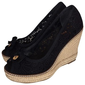 Tory Burch Espadrille Lace Black Wedges