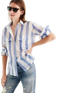 J.Crew Striped Sheer Preppy Classic Button Down Shirt Blue / White