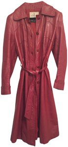 Wilsons Leather Trench Coat Red Leather Jacket