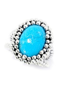Samuel B. Sterling Silver Beaded Caviar Turquoise Blue Ring