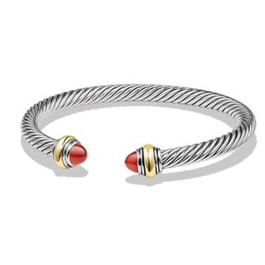 David Yurman BRAND NEW!! NEVER WORN!! David Yurman Carnelian 14 Karat Yellow Gold and Sterling Silver Cable Bracelet