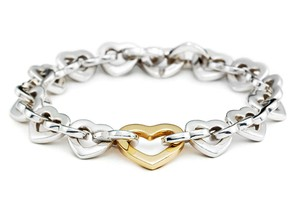 Tiffany & Co. Vintage Sterling Silver and 18k Gold Heart Link Bracelet