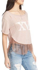 Free People Graphic Tulle Trim Tutu Hem Shirtail Hem Slouchy T Shirt NWT Mauve