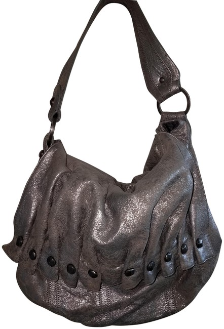 Item - Purse Silver Leather Hobo Bag