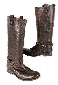Frye Leather Tall Riding Logo Brown Boots