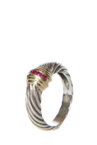 David Yurman David Yurman Sterling-Silver & 14k Gold & Ruby Ring