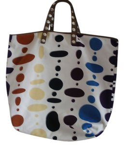 Marni Tote in White, tan, silver, multi-color