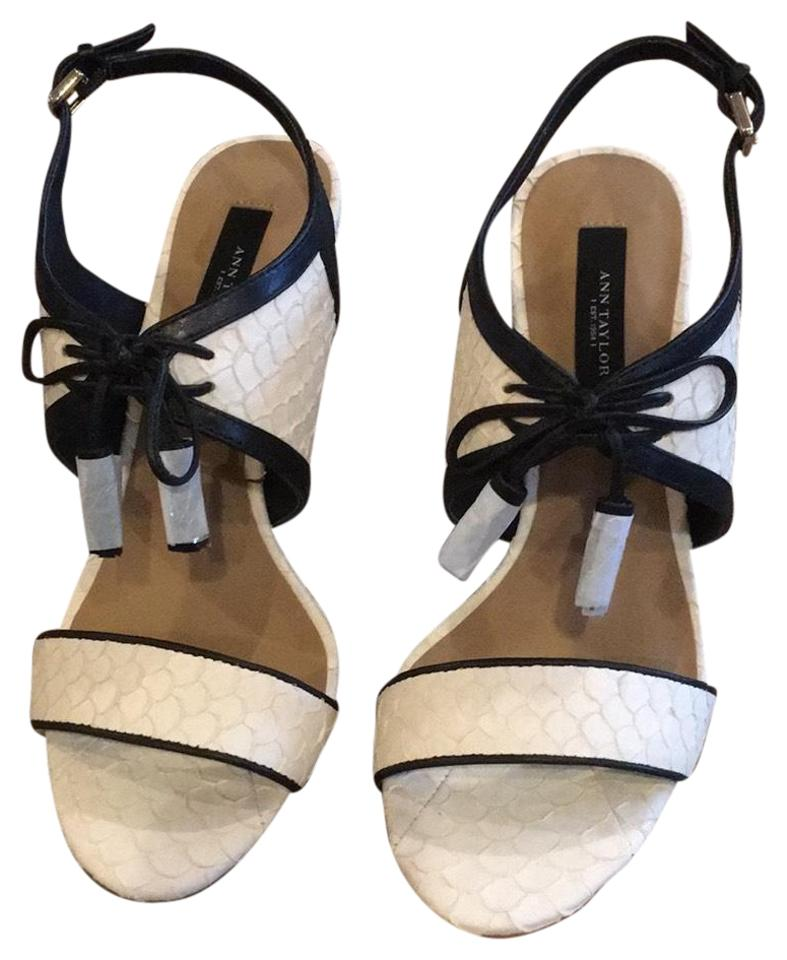 861f57693 Ann Taylor Black Winter White Gwen Lace Up Exotic Heel Pumps Size US ...