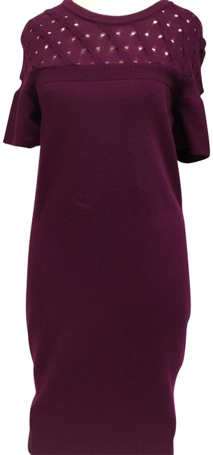 Item - Eggplant Cashmere Sleeve Mid-length Short Casual Dress Size 8 (M)