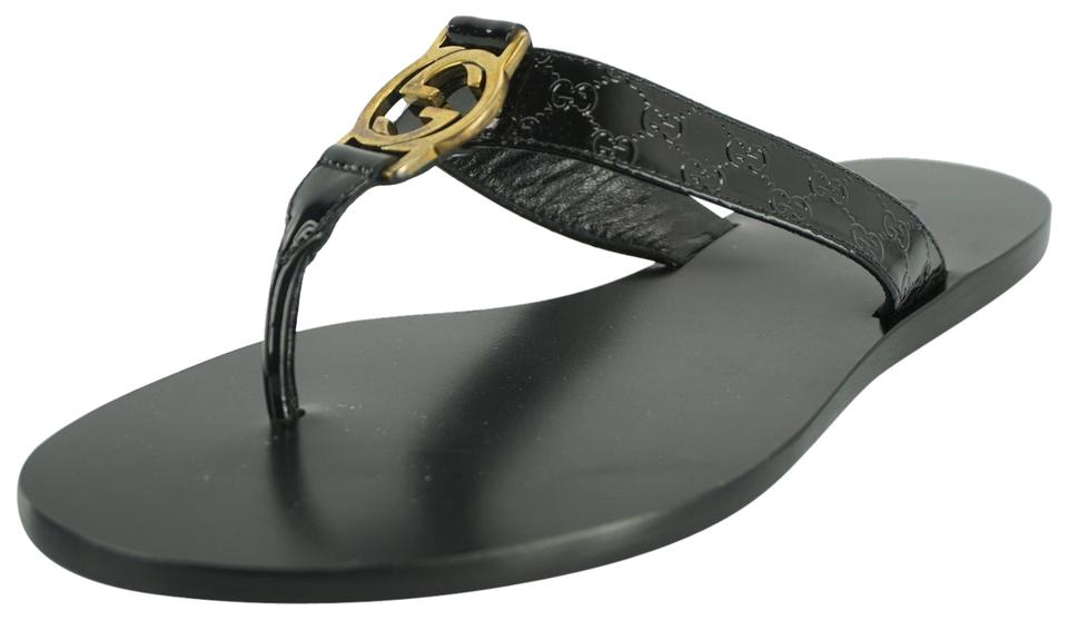 d6b2096b3e8e Gucci Black Women s Gg Microguccissima Patent Leather Thong Sandals ...