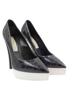 Stella McCartney Croc Leather White Vegan Leather Biodegradable Sole Black Platforms