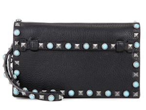 Valentino Rolling Beaded Spike Studded black Clutch