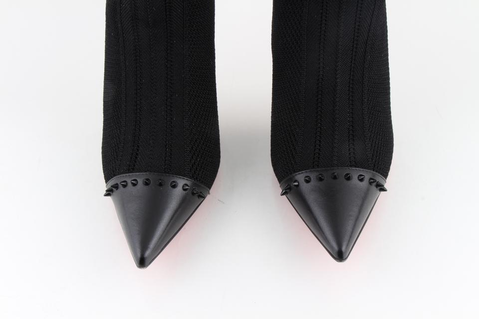 84b2a184036f Christian Louboutin Black Souricette 100 Nappa Shinny Maille Tricot ...
