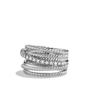 David Yurman David Yurman Crossover wise ring with diamonds