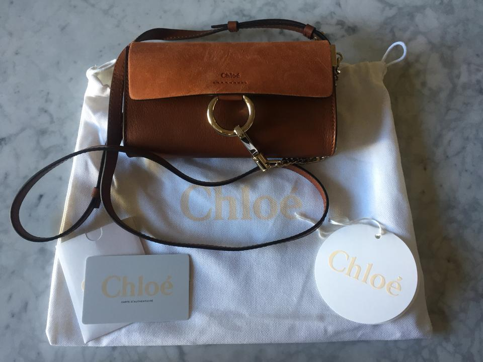 Leather Faye Camel Bag Tan Chloé Suede Mini Shoulder qUwnxT