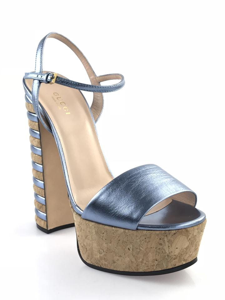 2fe748def Gucci Blue Claudie Cork and Leather Platform Sandals. Size: EU 38 ...
