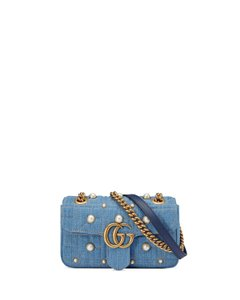 2b54320e637 Added to Shopping Bag. Gucci Cross Body Bag. Gucci Marmont New Gg Mini 2.0  Denim Shoulder Blue ...